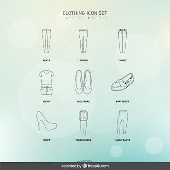 Abbigliamento icone set di donna