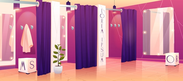 Clothing shop fitting rooms illustration