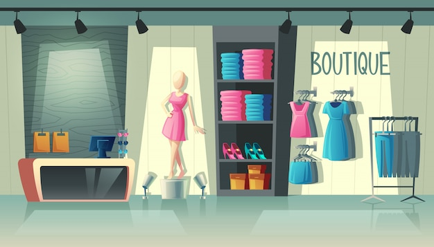 Clothing shop interior - wardrobe with woman clothes, cartoon mannequin and stuff on hangers