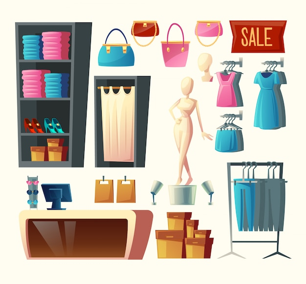 Clothing shop set - wardrobe with clothes, dressing room and other elements