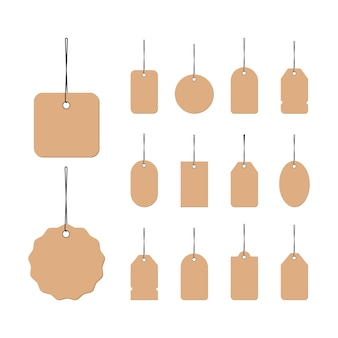Clothing size label icon in black or blank tags