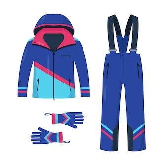 Clothing for skiing and snowboarding. bright jacket, pants and gloves for winter sport and walk isolated on white background.