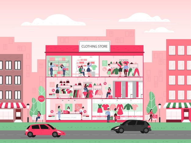 Clothing store building interior. clothes for men and women. counter, fitting rooms and shelves with dresses. people buy and try new clothes.   illustration