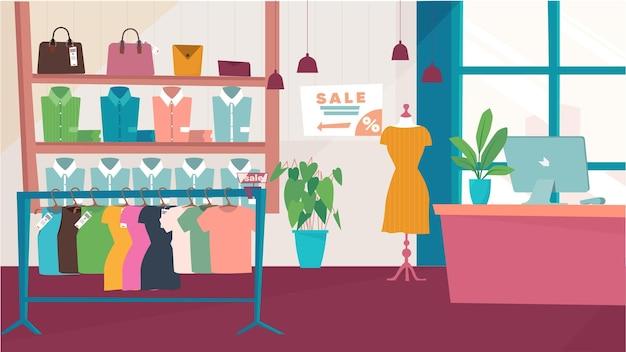 ハンガーのドレスの品揃えとフラット漫画デザインショップの衣料品店のインテリアコンセプト...
