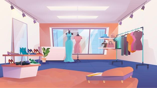 Интерьер магазина одежды в плоском мультяшном стиле