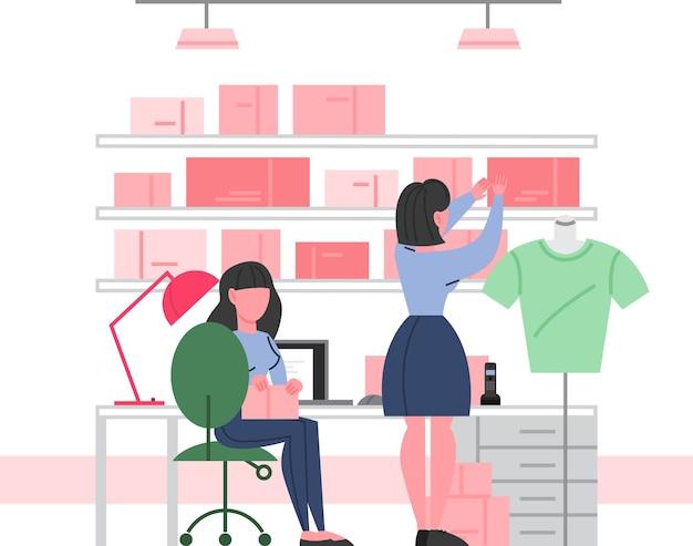 衣料品店のインテリア。ファッションブティックのユーティリティルーム。男性と女性のための服。衣料品店のスタッフ。のイラスト。