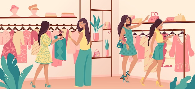 옷가게. 트렌디한 옷이 있는 패션 매장의 세련된 다양한 소비자, 의류 및 고객이 있는 소매점 인테리어. 고급 상점에서 벡터 힙스터 소녀 캐릭터 선택 착용