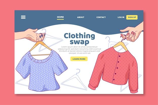 Modello di pagina di destinazione per lo scambio di vestiti