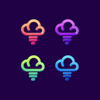 Cloud air lightning thunder day logo set