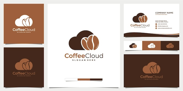 名刺テンプレートとクラウドとコーヒーのロゴデザインアイコン