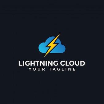 クラウドおよびライトニングサンダー電力ロゴデザインテンプレート