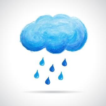 구름과 빗방울, 오일 파스텔 크레용으로 손으로 그린. 레트로 소식통 배경입니다. 날씨 개념입니다. 가 계절 템플릿입니다.