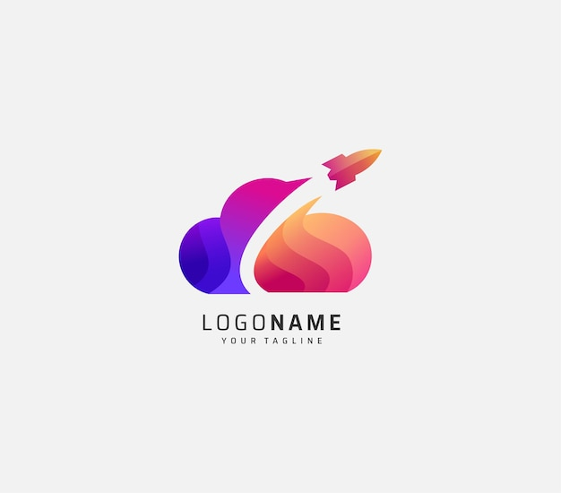 Облачный и ракетный градиентный дизайн логотипа премиум