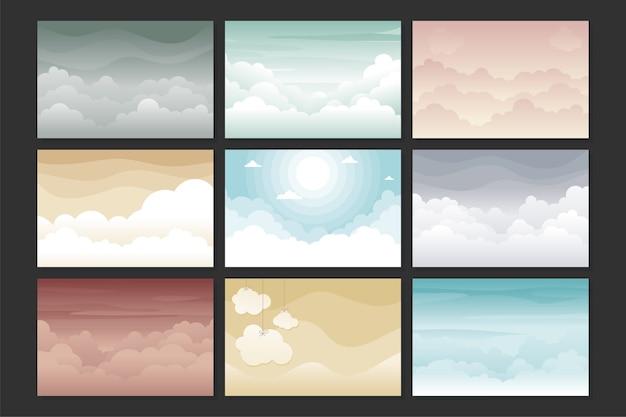 다른 색상으로 설정 구름과 하늘 배경