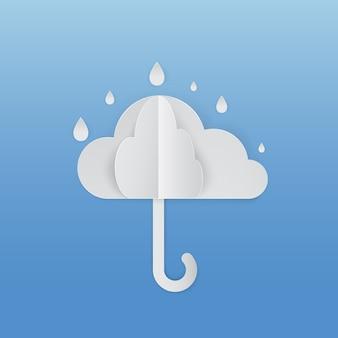 비와 구름과 우산 프리미엄 벡터