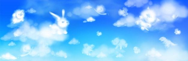Cloud animals flying in blue sky