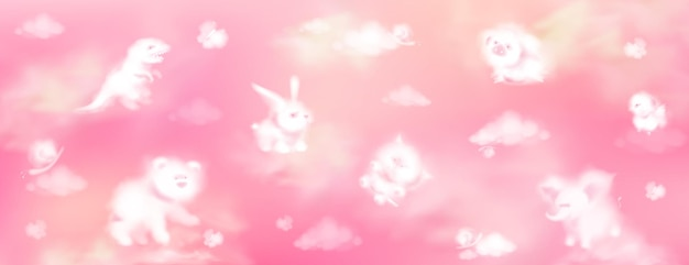 Cloud animals on pink