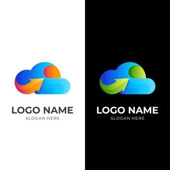 Облако стрелка логотип концептуальный вектор, облако и стрелка, комбинированный логотип с 3d красочным стилем