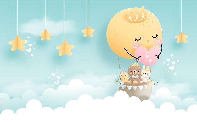 Cloud baby animal, baby boy with full moon balloon