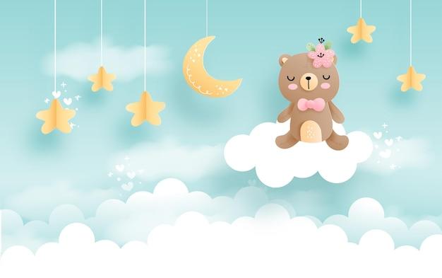 구름 아기 동물, 구름 위의 아기 소녀