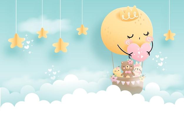 Cloud baby animal baby girl with full moon balloon