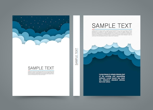 Cloud background bock, night sky cover, a4 size paper, vector illustration