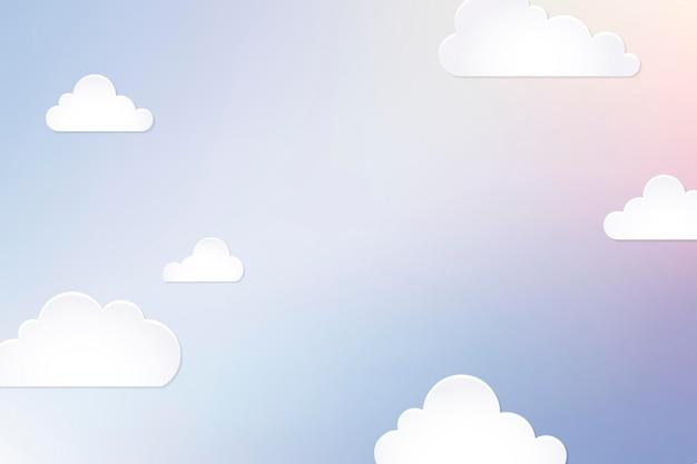 Sfondo nuvola, vettore di disegno del taglio della carta pastello