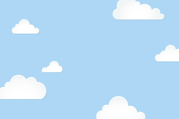 Cloud background, pastel paper cut style vector