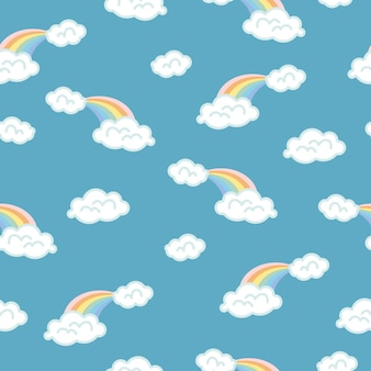 구름 배경, 무지개 원활한 패턴, 만화 벡터 일러스트 레이 션, 아이를 위한 푸른 하늘 배경