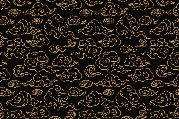 Cloud background, seamless chinese oriental pattern vector