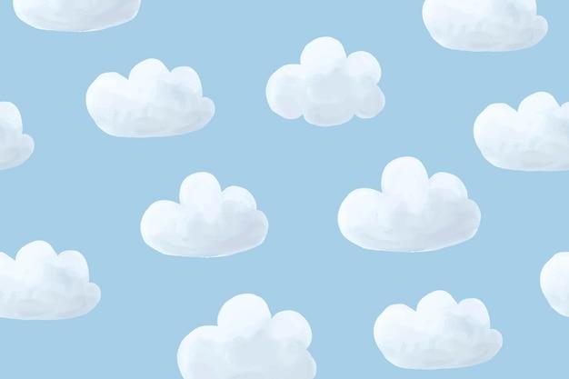 구름 배경 벡터, 귀여운 바탕 화면 배경 무늬