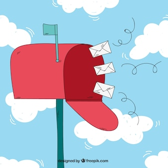 Cloud background with mailbox and envelopes