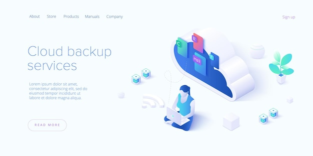 Cloud backup service in isometric illustration landing page