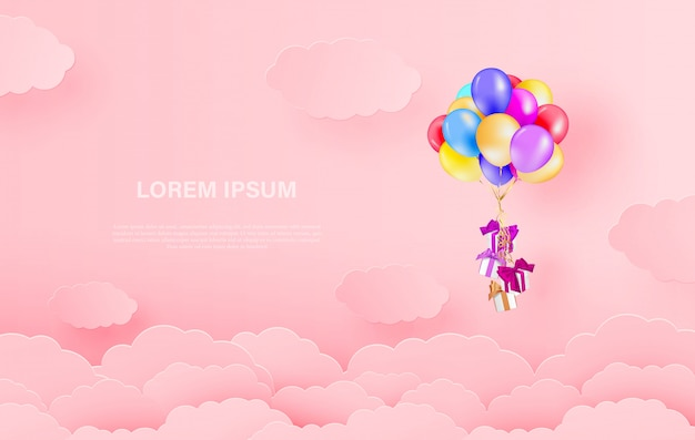 Cloud and balloons with gift boxes paper cut style background