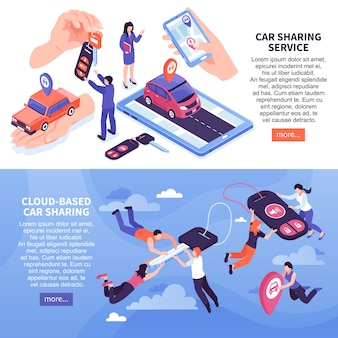 Cloud based car sharing service banners set