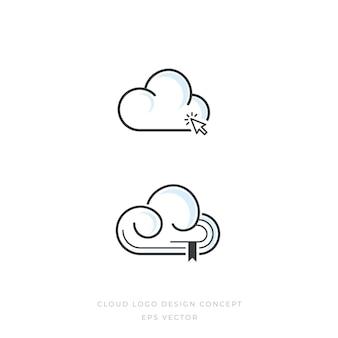 Cloud bookmark logo concept