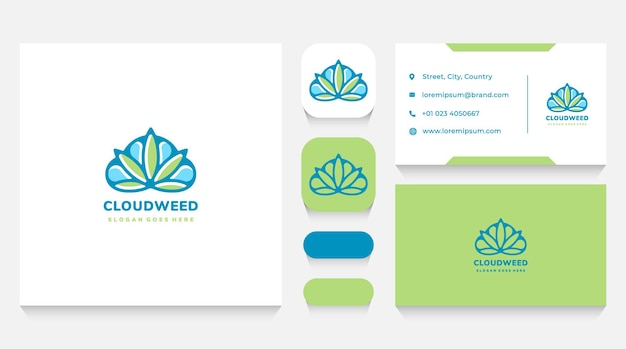 Cloud and cannabis logo template and business card