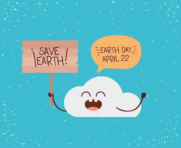 Cloud character with speech bubble and label earth day celebration