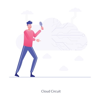 Cloud circuit flat vector electronic cloud design