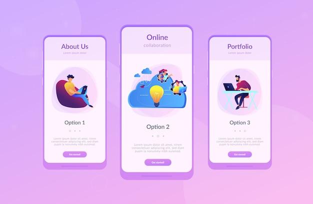 Cloud collaboration app interface template.