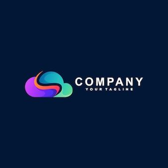 Cloud color gradient logo design