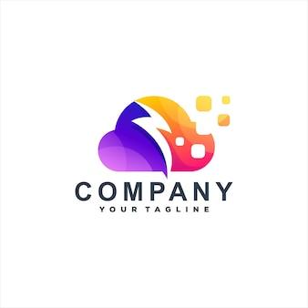 Дизайн логотипа градиента облачного цвета