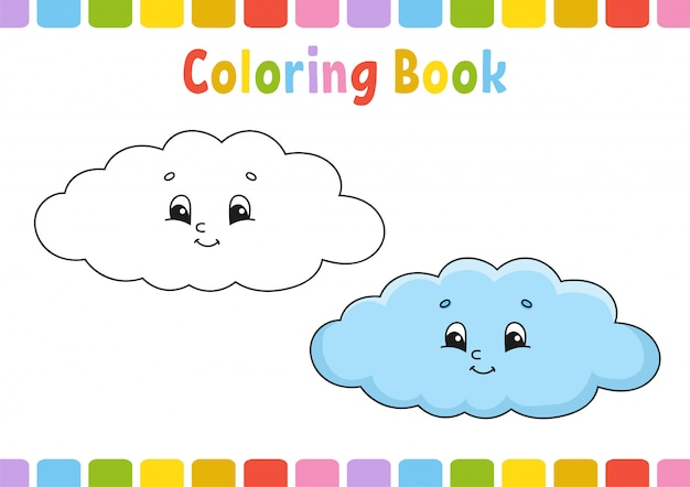 Cloud. coloring book for kids. cheerful character. .
