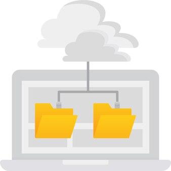 Облако компьютер значок файл базы данных хранения вектор