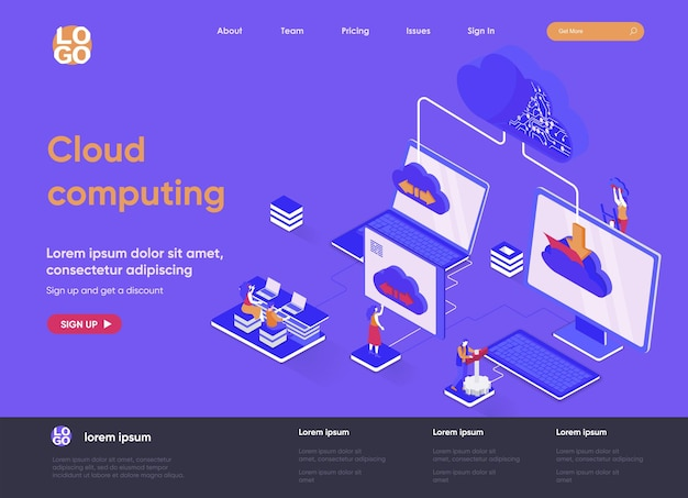 Cloud computing 3d isometric landing page website   illustration with people characters