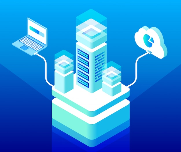 Концепция облачных вычислений и центра хранения данных с серверной стойкой, подключенной к ноутбуку