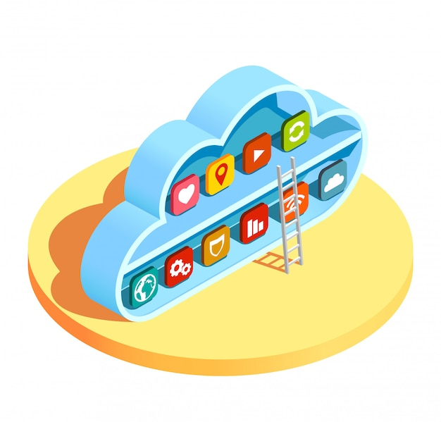 Cloud computing apps isometric
