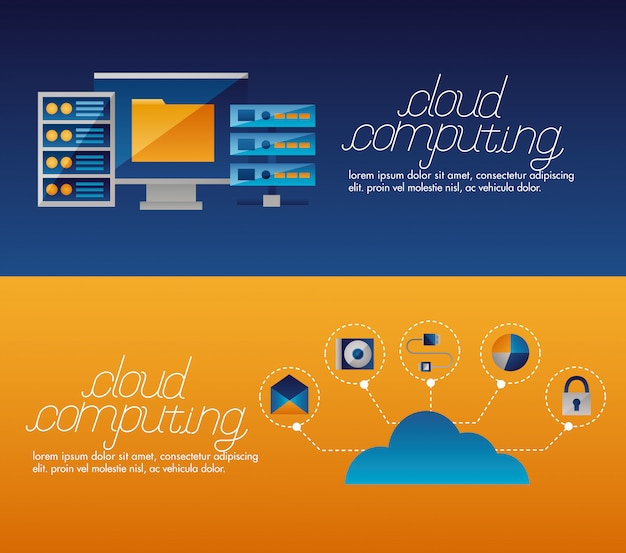 Banner di cloud computing Vettore gratuito