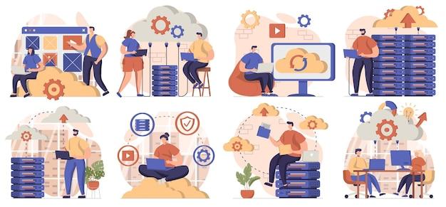 격리된 장면의 클라우드 컴퓨팅 컬렉션 사람들은 서버에 파일 저장소를 업로드합니다.