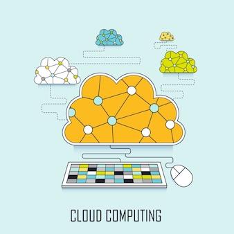 クラウドコンピューティングの概念:ラインスタイルでキーボードに接続するクラウド